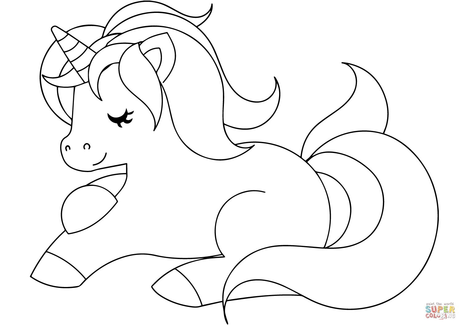 Cute Unicorn Coloring Page | Free Printable Coloring Pages With - Free Coloring Pages Com Printable