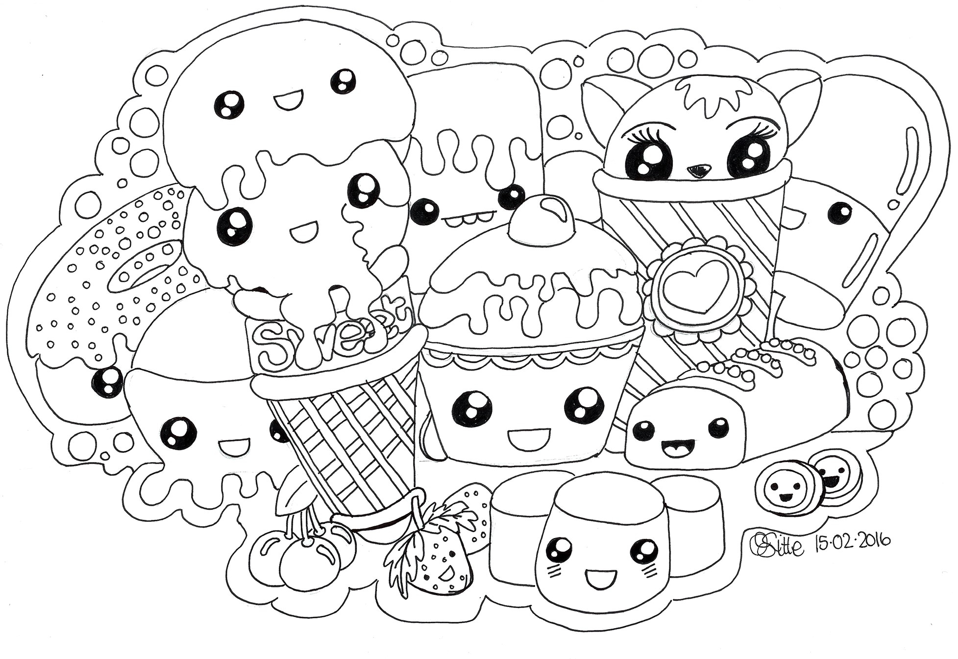 Cute Unicorn Coloring Pages To Print Fresh Kawaii Cat Page Free 1955 - Free Printable Unicorn Coloring Pages