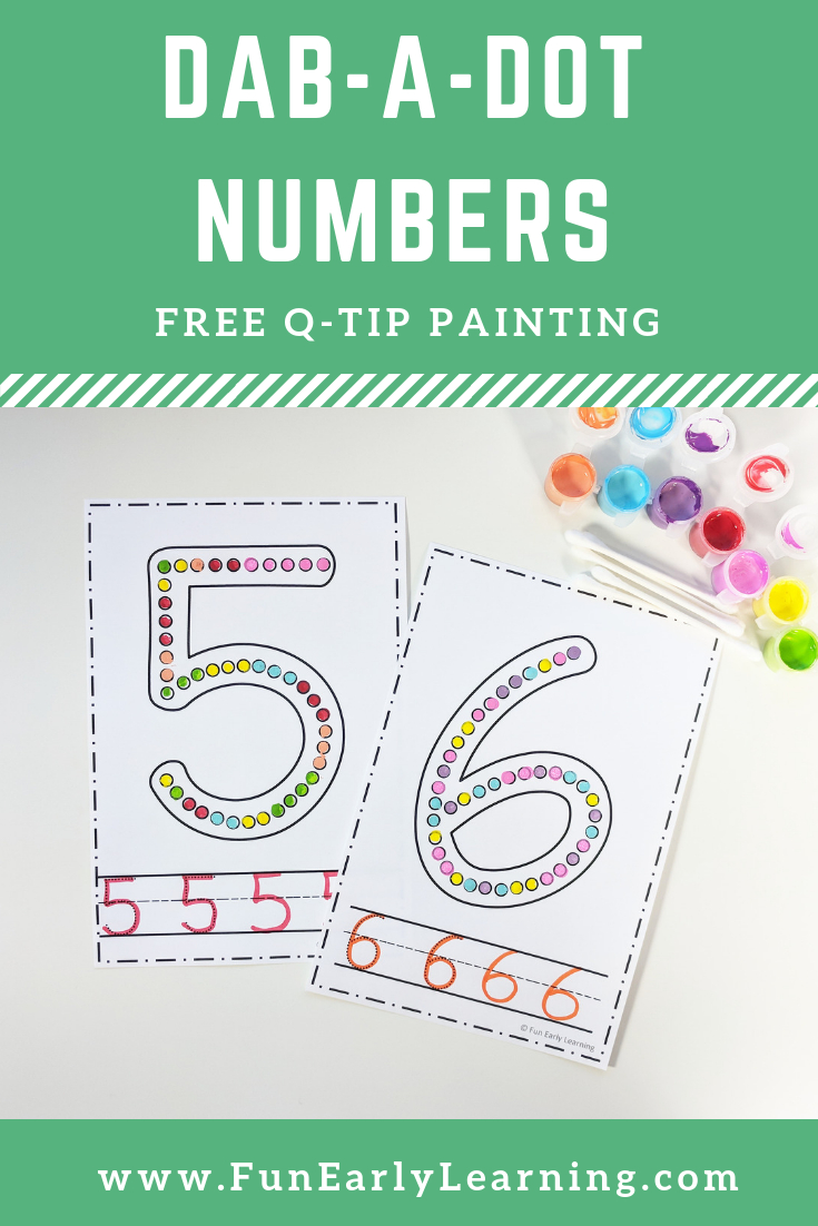 Dab-A-Dot Numbers Q-Tip Painting Math Activity. Fun Free Printable - Free Printable Early Childhood Activities