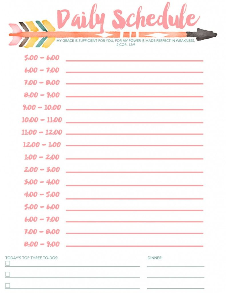 Daily Schedule Free Printable | Planners & Bullet Journals | Daily - Free Printable Schedule