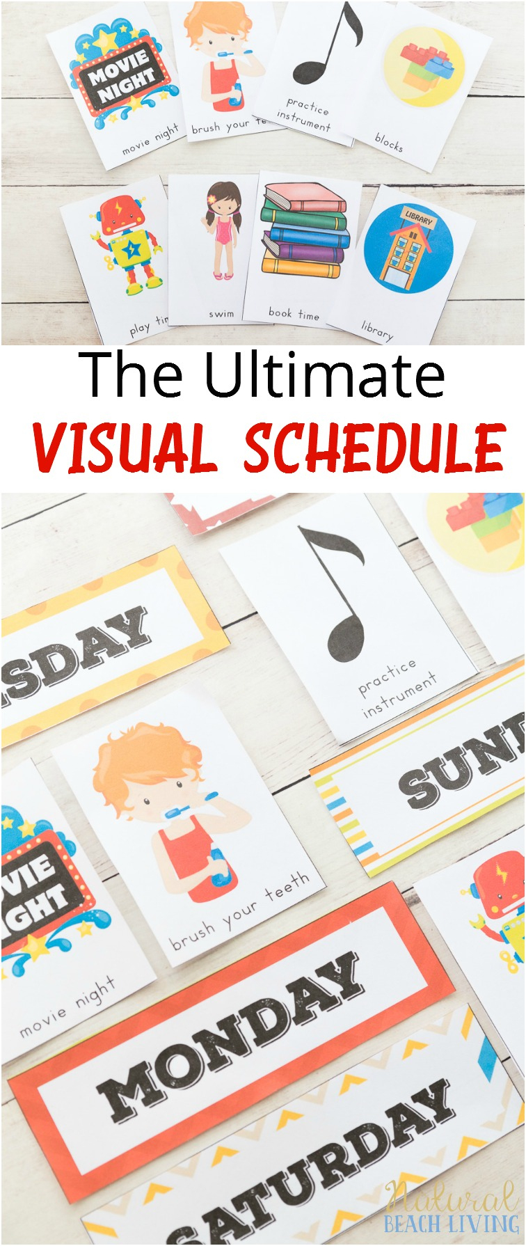 Daily Visual Schedule For Kids Free Printable - Natural Beach Living - Free Printable Daily Routine Picture Cards