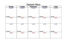 Free Printable Daycare Menus