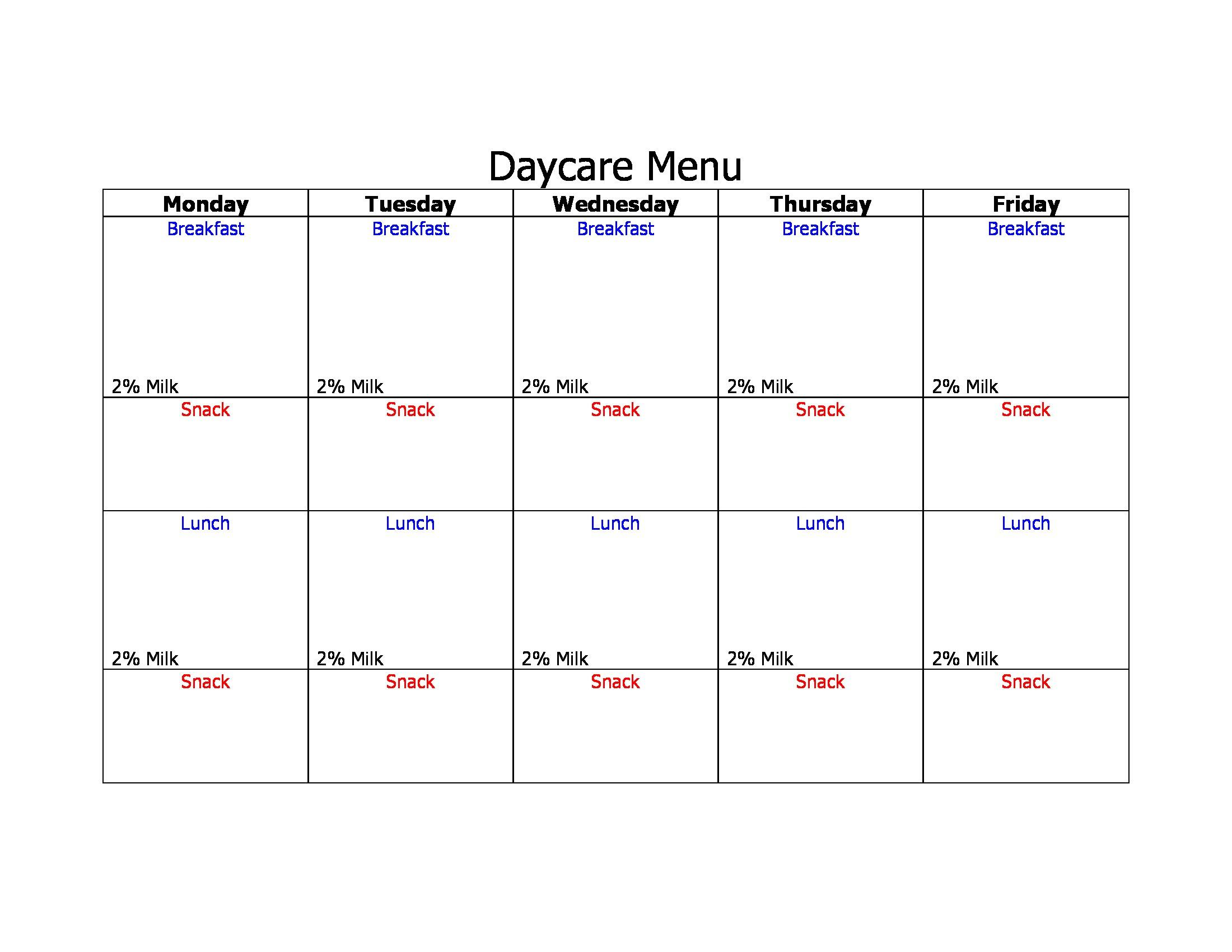 Day Care Blank Menu Forms - Free Printable Daycare Menus
