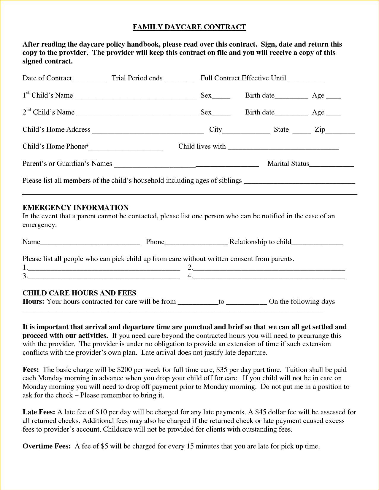 Daycare Contract Family Daycare Contract After Reading The Daycare - Free Printable Home Improvement Contracts