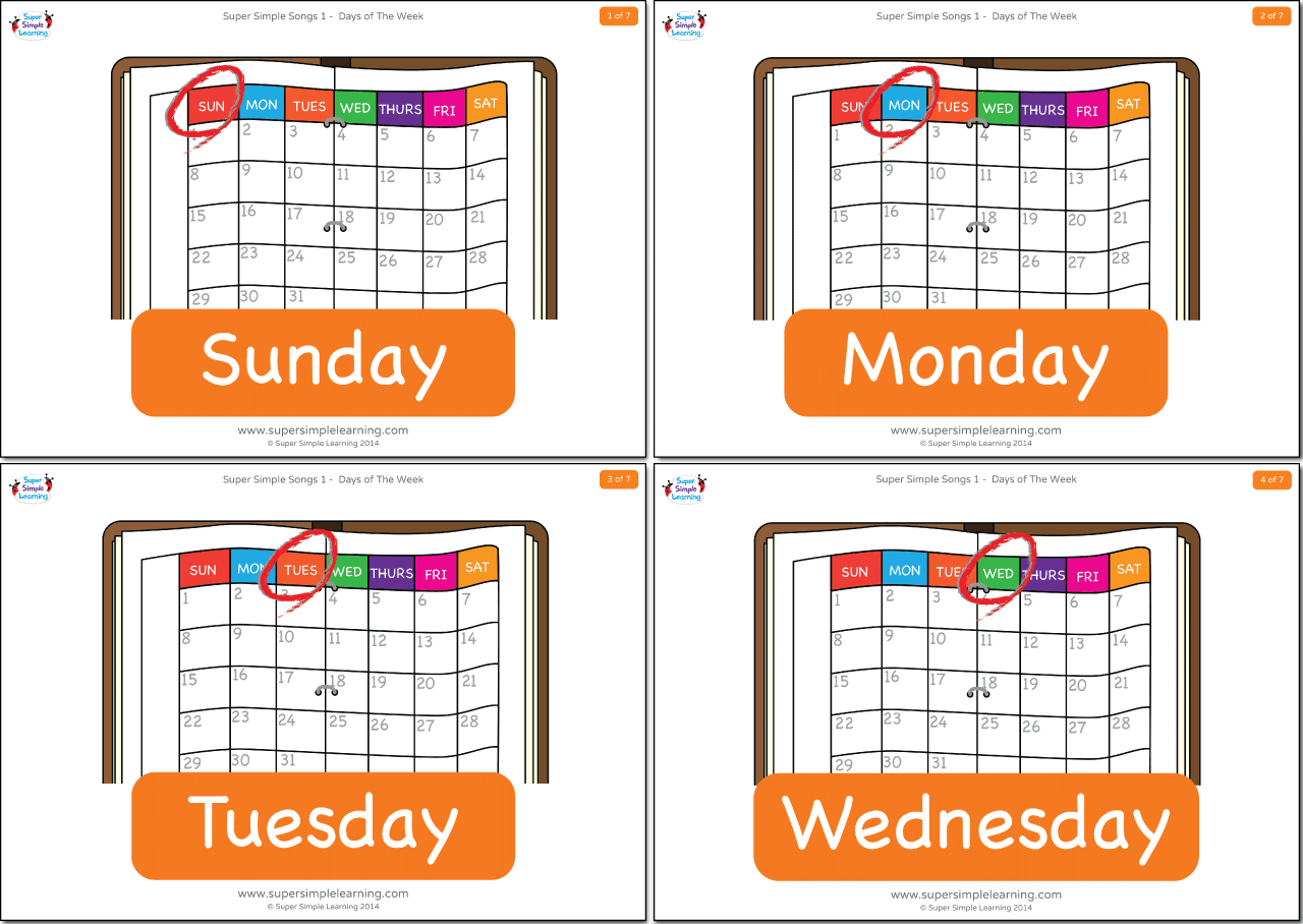 Days Of The Week Flashcards - Super Simple - Free Printable Days Of The Week Cards