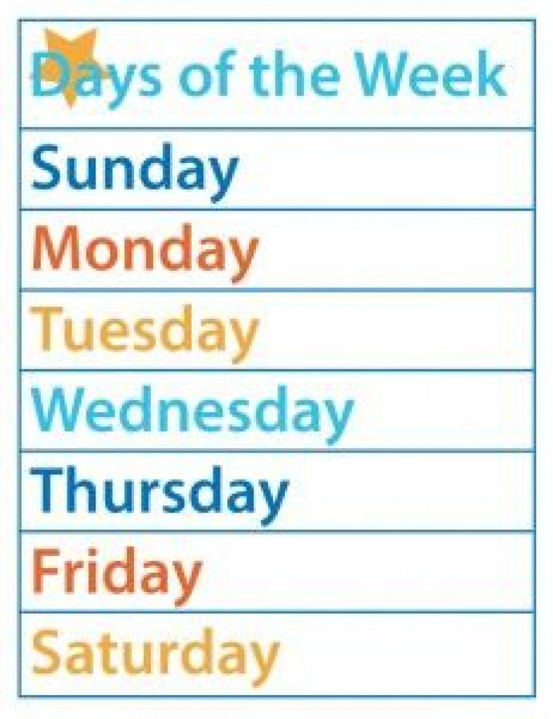 Days Of The Week – Free Printable   Kid Fun   Pinterest   Free For - Free Printable Months Of The Year Chart