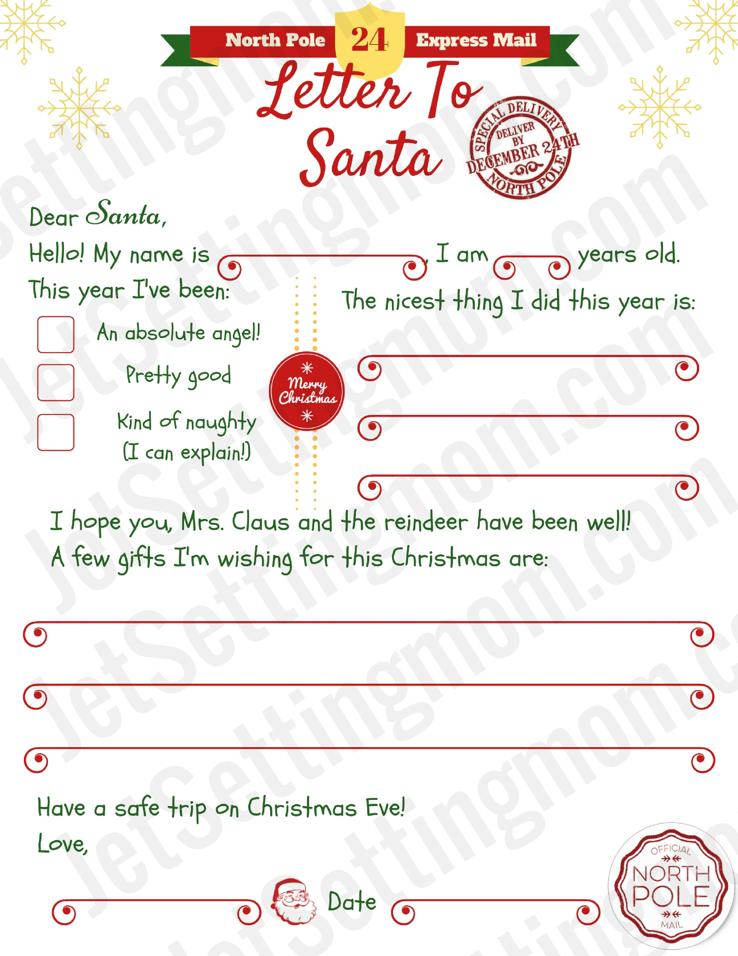 Dear Santa Letter Template Printable Best Printable Letter To Santa - Free Printable Letter From Santa Template