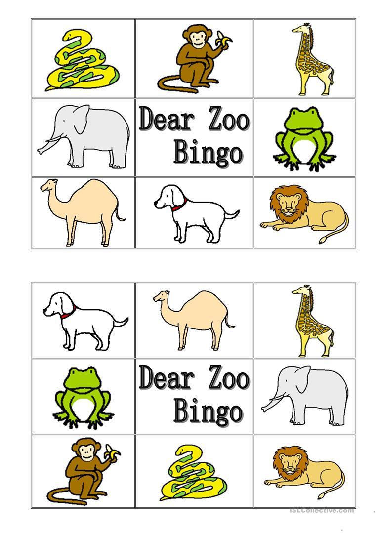Dear Zoo Animal Bingo Worksheet - Free Esl Printable Worksheets Made - Free Printable Zoo Worksheets