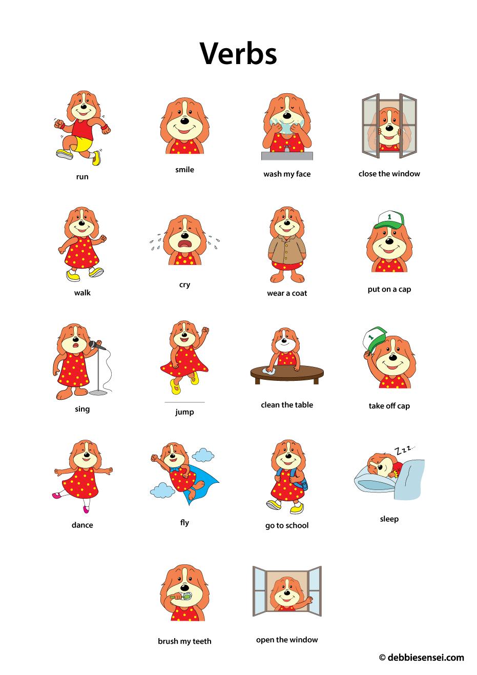 Debbie Sensei - Free Esl Verbs Flashcards - Free Printable Spanish Verb Flashcards
