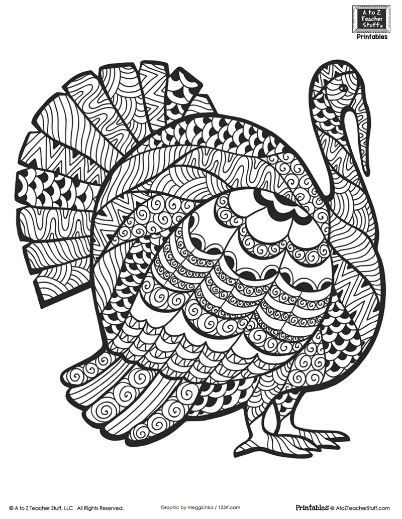 Detailed Turkey Advanced Coloring Page   A To Z Teacher Stuff - Free Printable Pictures Of Turkeys To Color