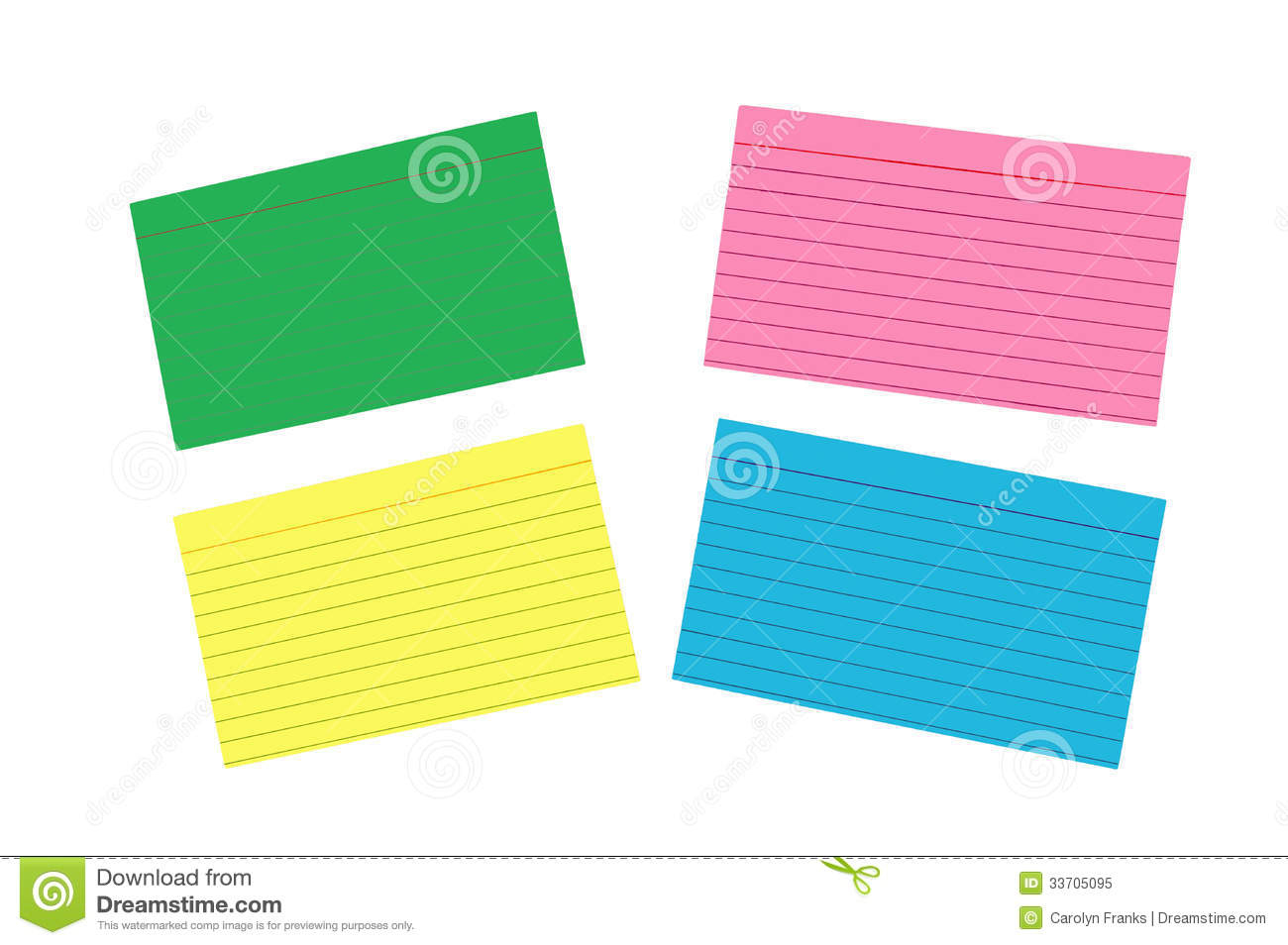 Different Colored Blank Index Cards Isolated Stock Image - Image Of - Free Printable Blank Index Cards