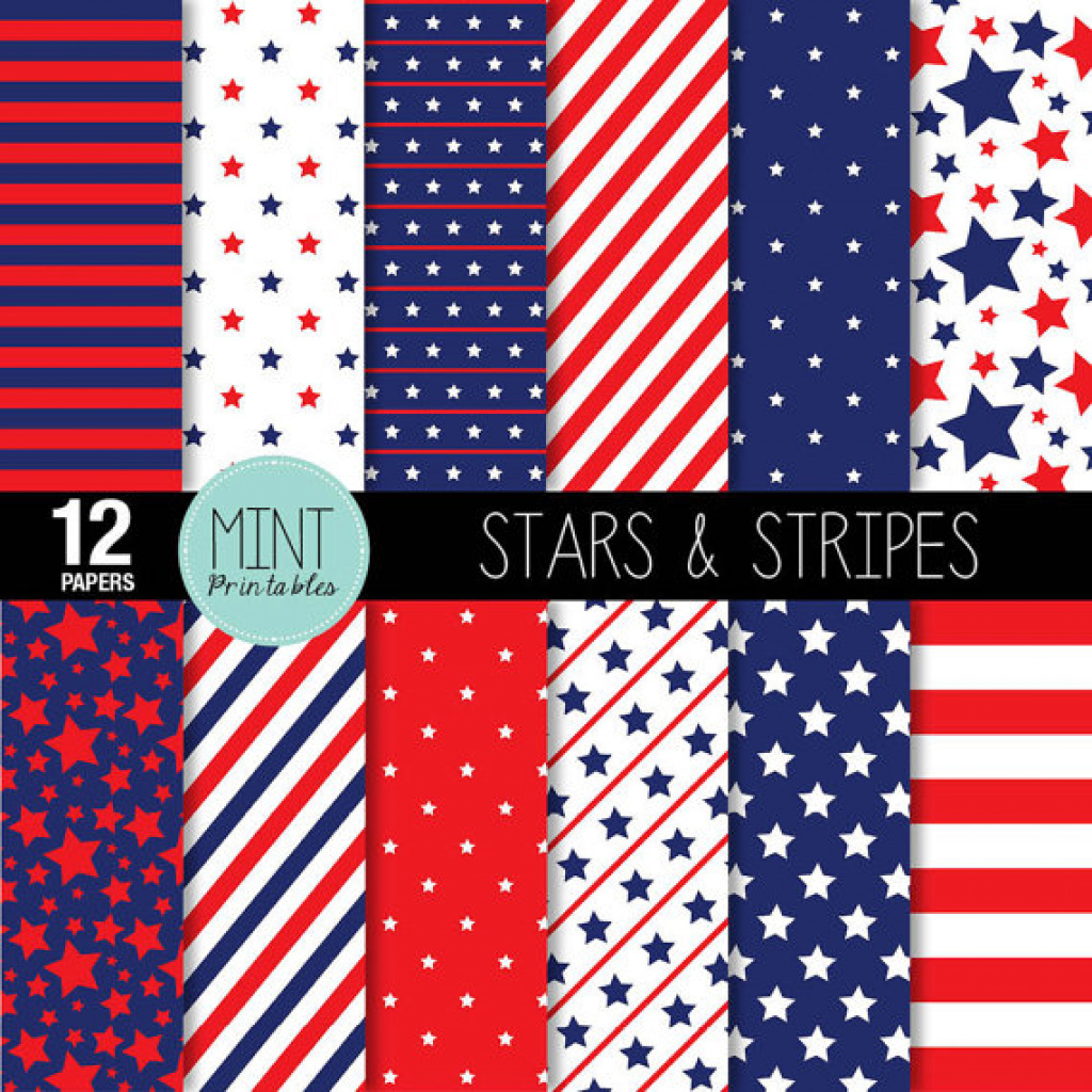 Digital Paper, Stars And Stripes Scrapbooking Papers, Patriotic - Free Printable Patriotic Scrapbook Paper