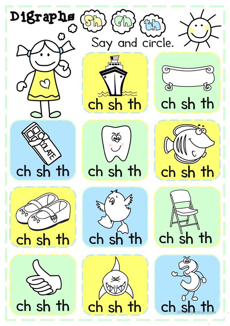 Digraphs - Sh, Ch, Th - Multiple Choice Worksheet - Free Esl - Sh Worksheets Free Printable