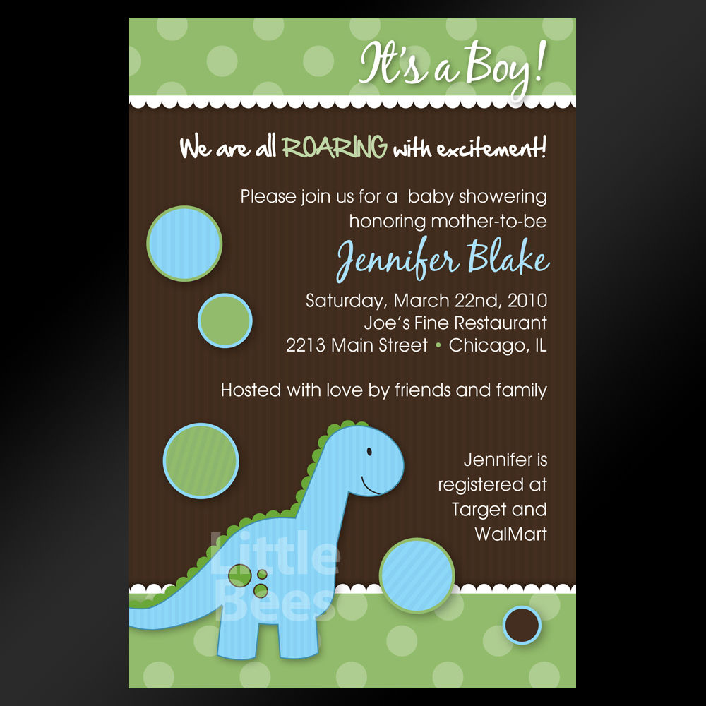 Dinosaur Baby Shower Invitations Printable Or Diy Heaven Sent Baby - Free Printable Dinosaur Baby Shower Invitations