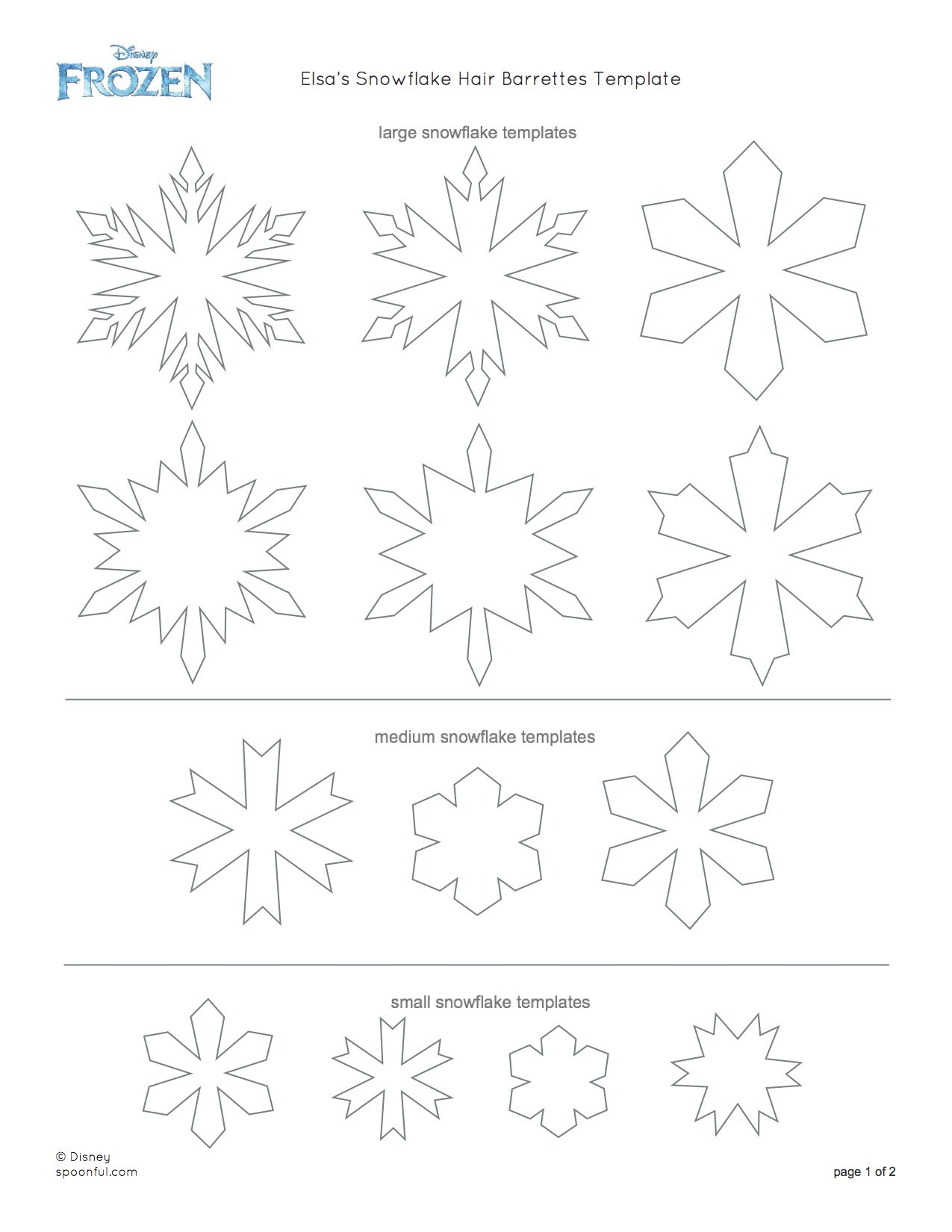 Disney-Frozen-Elsa-Snowflake-Hair-Barrettes-Printable-0813 - Disney - Free Printable Snowflake Patterns