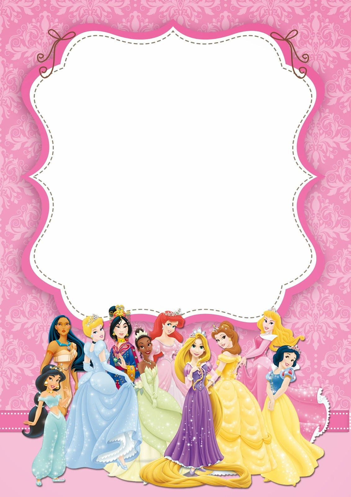 Disney Princess: Free Printable Party Invitations. | Princesse - Disney Princess Free Printable Invitations