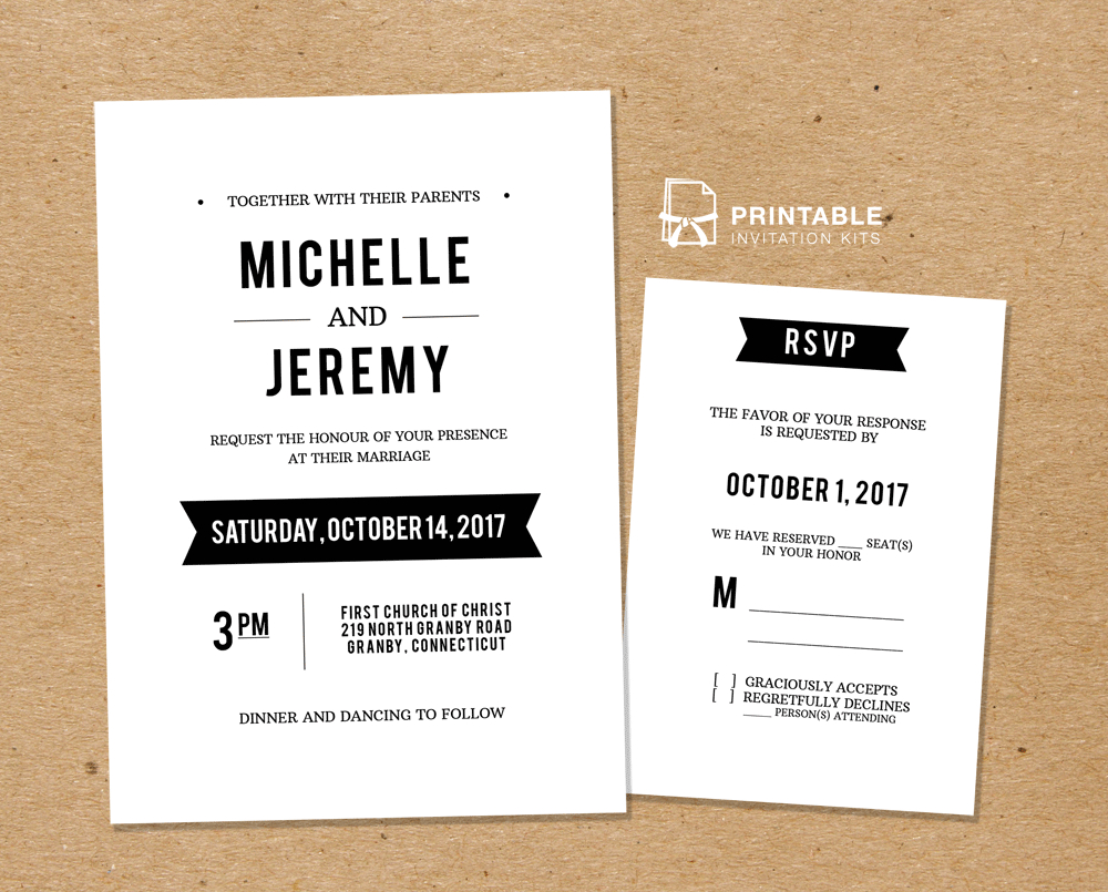 Diy Free Pdf Printable Wedding Invitation And Rsvp | Wedding - Free Printable Wedding Invitation Kits