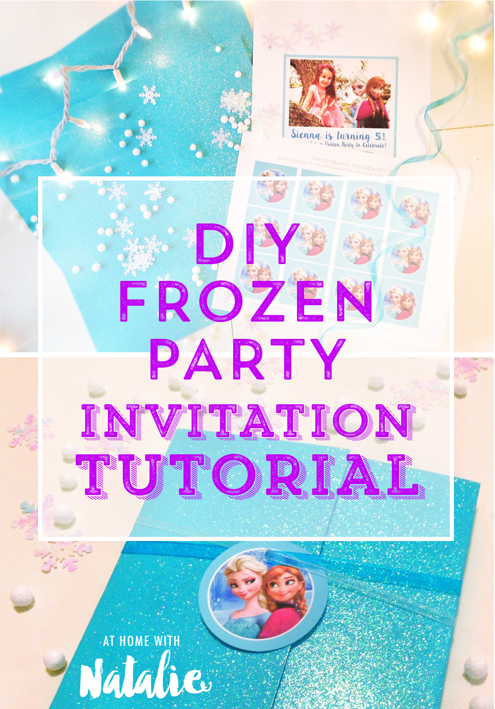 Diy Frozen Party Invitation Tutorial-Free Printable! – At Home With - Free Printable Frozen Birthday Invitations