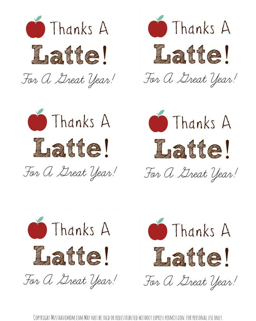 "Diy Personalized Teacher Mug + ""thanks A Latte"" Printable - Thanks A Latte Free Printable Tag"