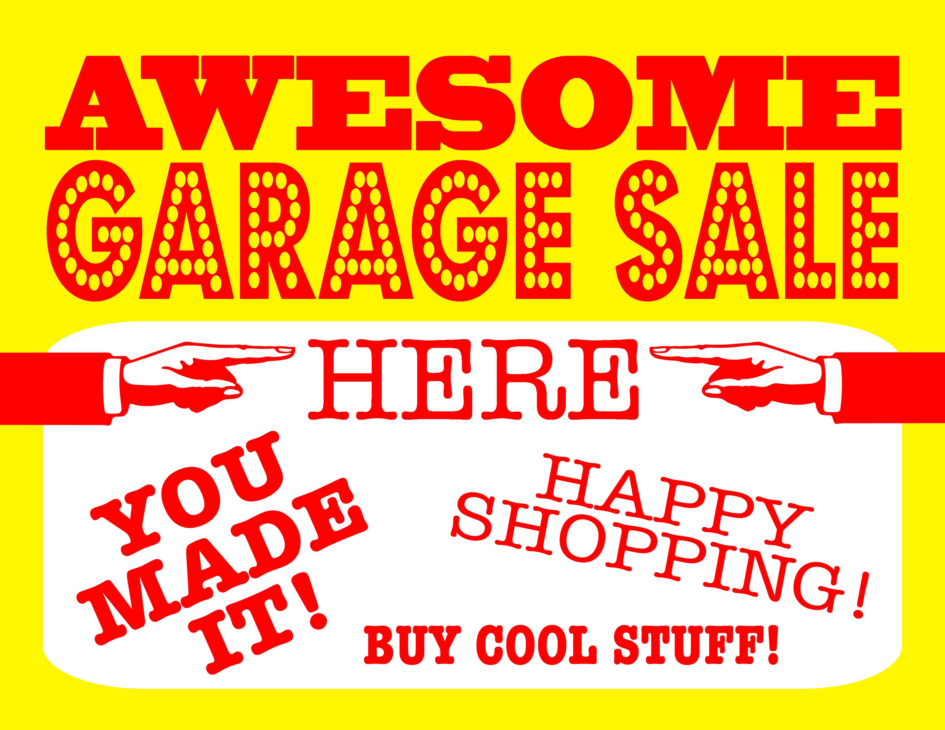 Diy Printable Awesome Garage Sale Signs - Free Printable Yard Sale Signs
