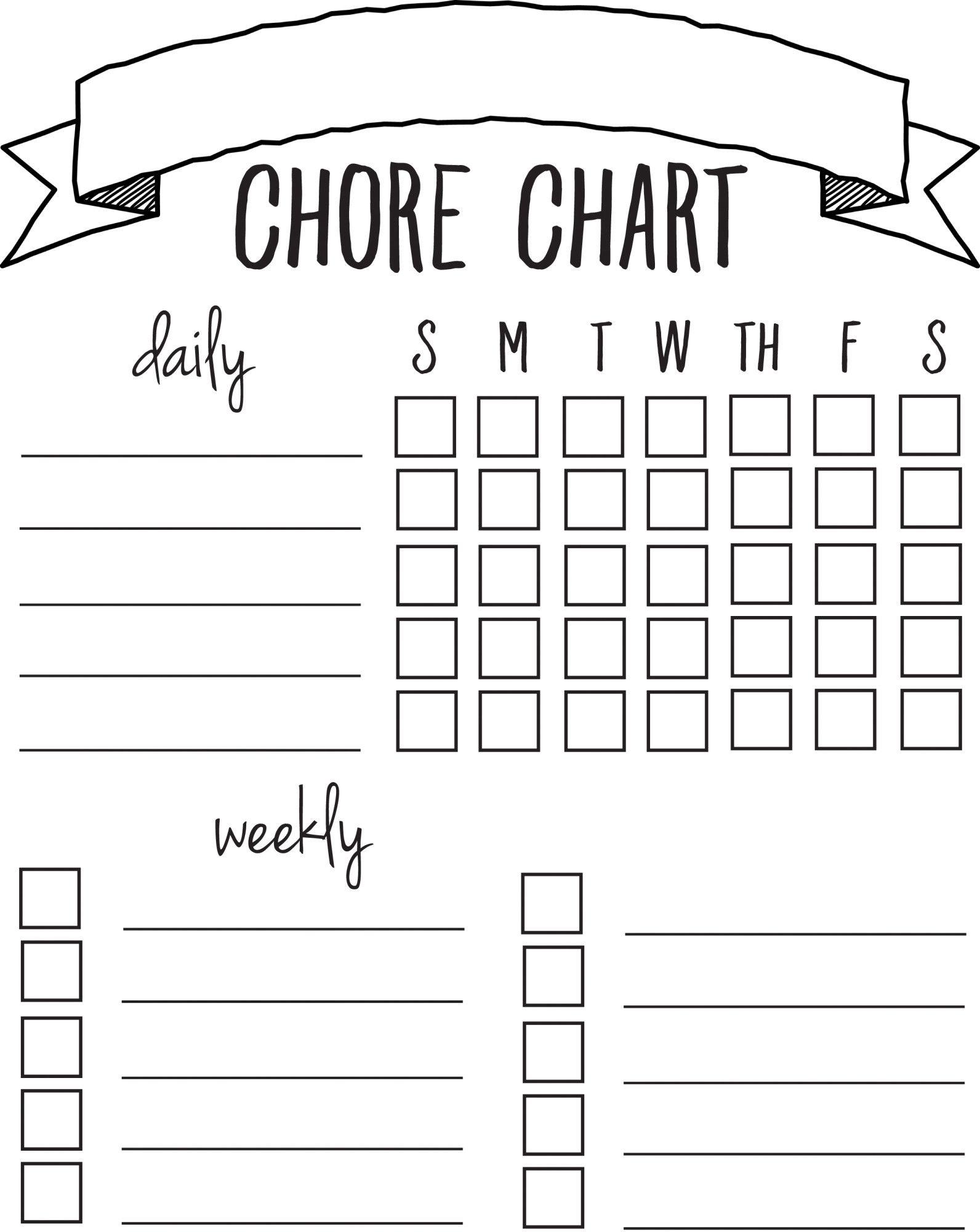Diy Printable Chore Chart | Free Printables Nov/feb | Pinterest - Free Printable Charts And Lists