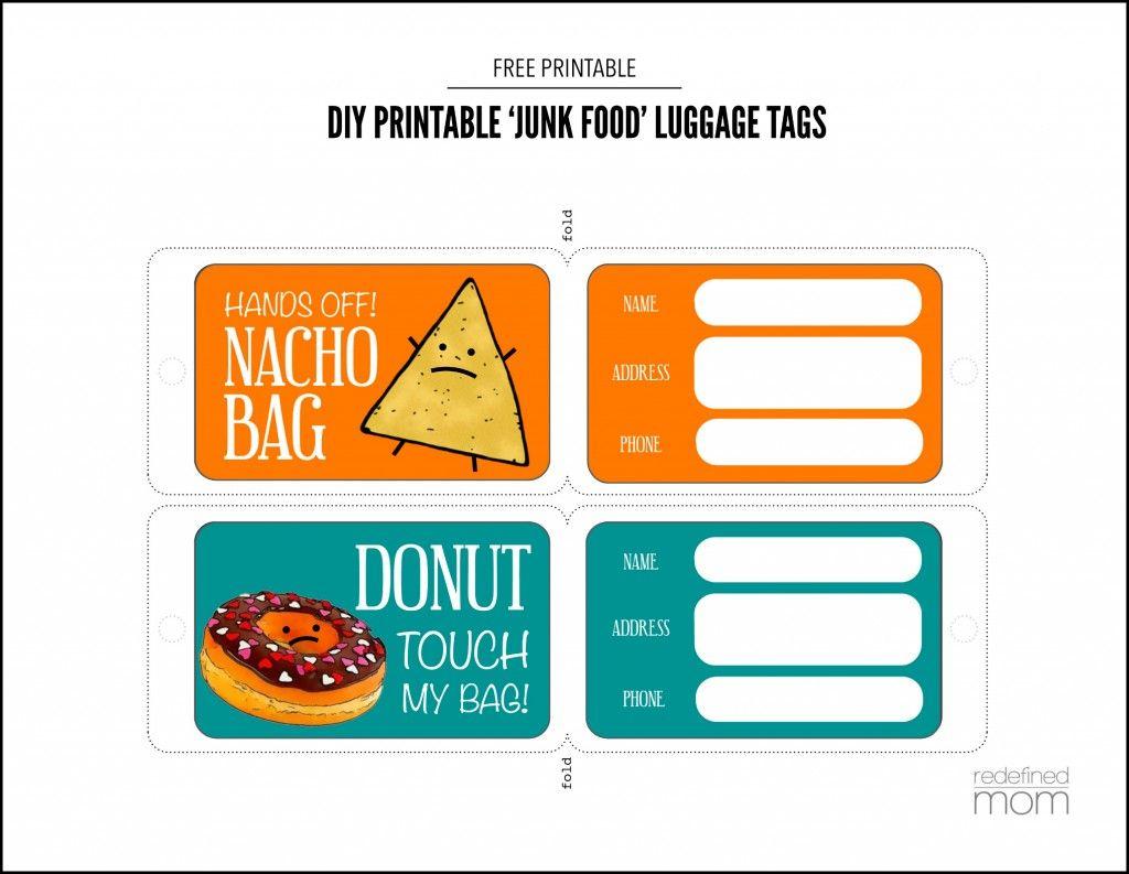 Diy Printable Junk Food Luggage Tags | Printable | Pinterest | Funny - Free Printable Luggage Tags