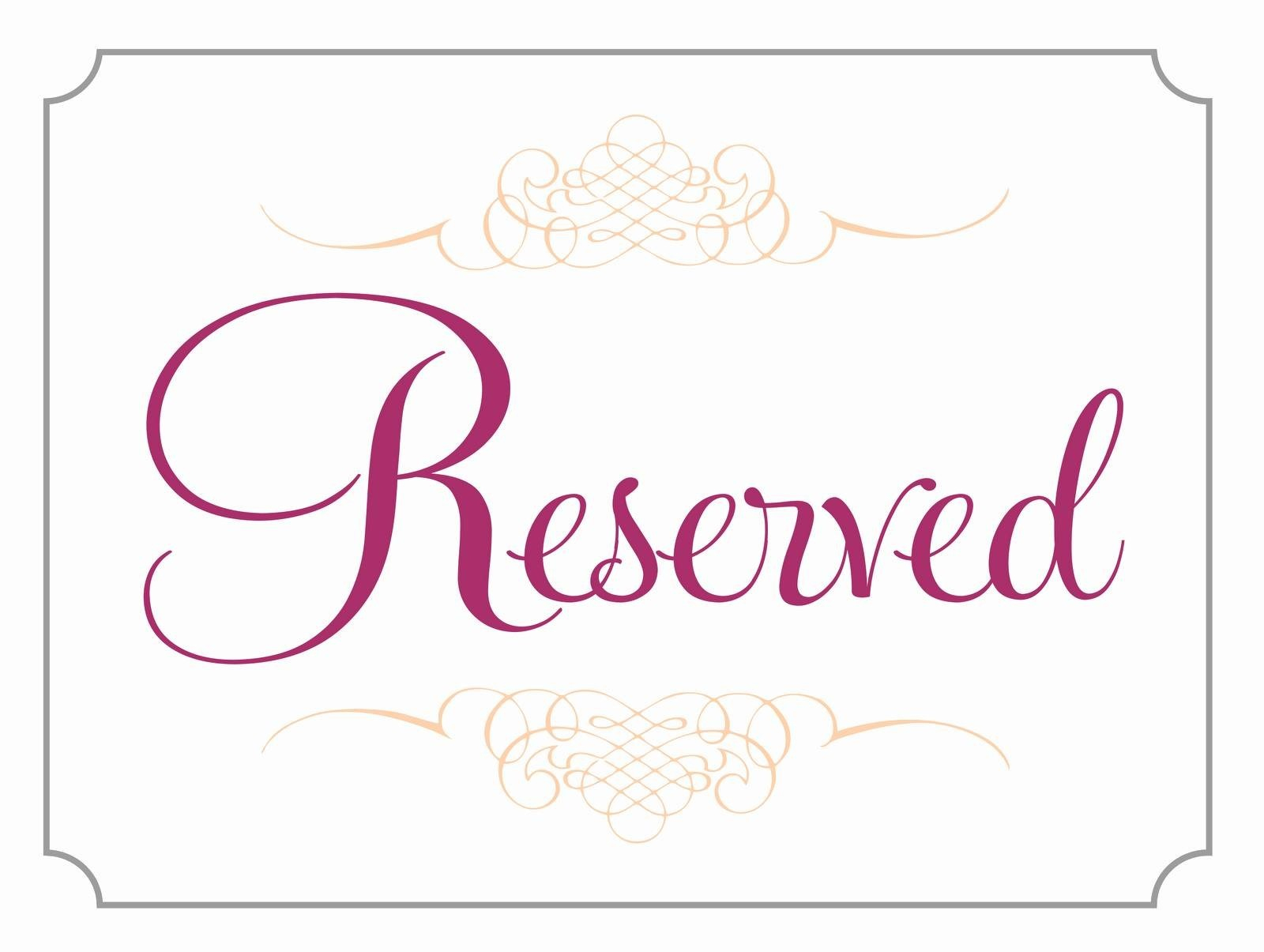 Diy Printable Wedding Reserved Sign Template 2589704 Weddbook - Free Printable Reserved Table Signs