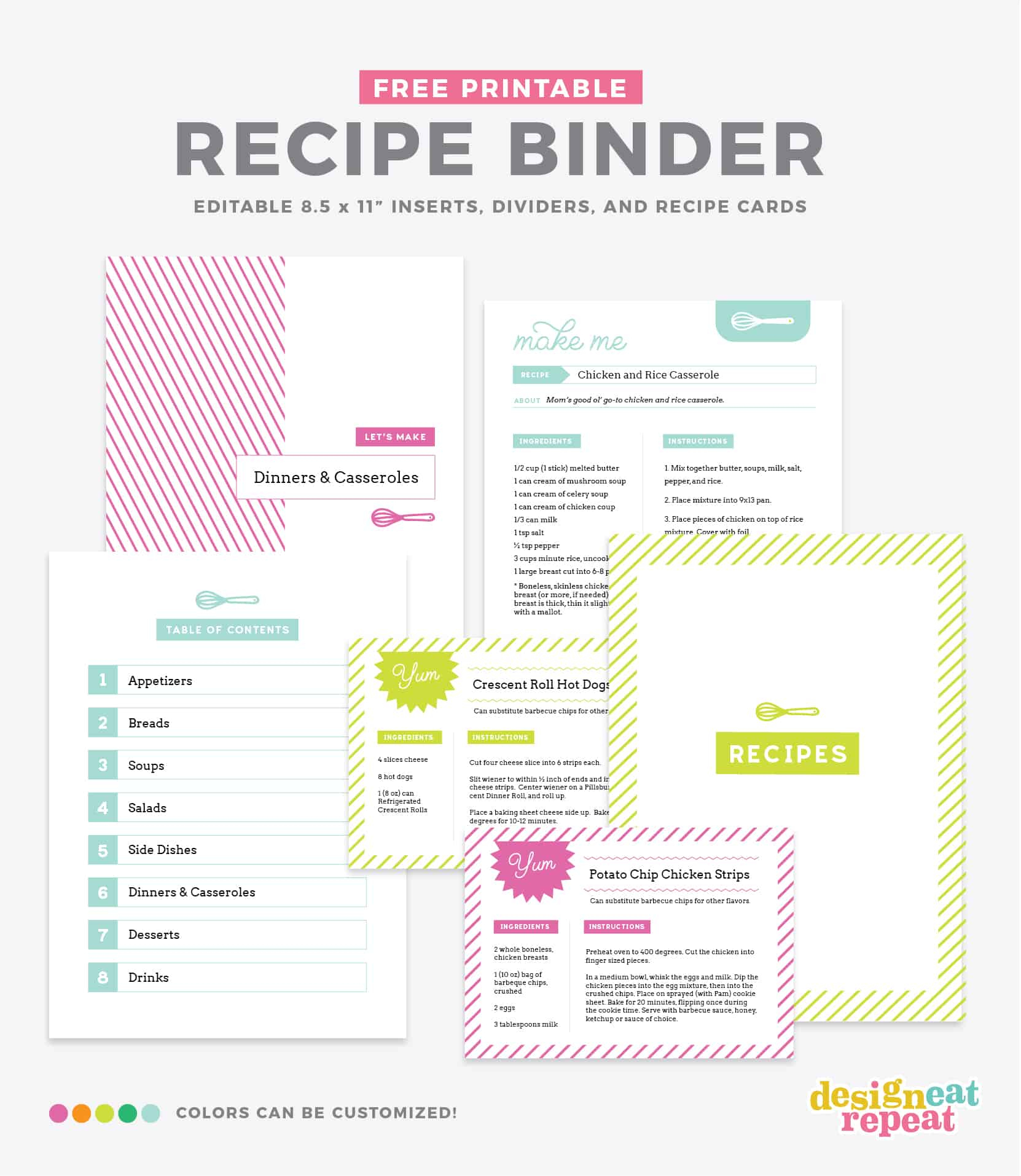 Diy Recipe Book (With Free Printable Recipe Binder Kit!) - Free Printable Recipe Page Template