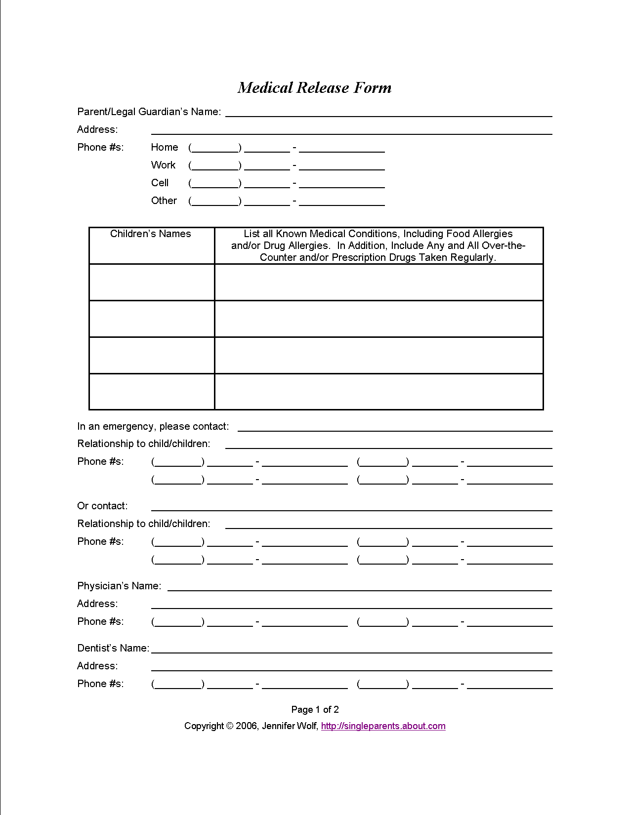 Do You Have A Medical Release Form For Your Kids? | Travel - Free Printable Medical Forms Kit