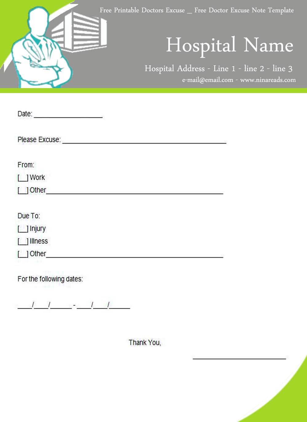 Doctor Free (1173A—1600) | Theme Pinterest Free Printable Forms - Free Printable Doctor Notes