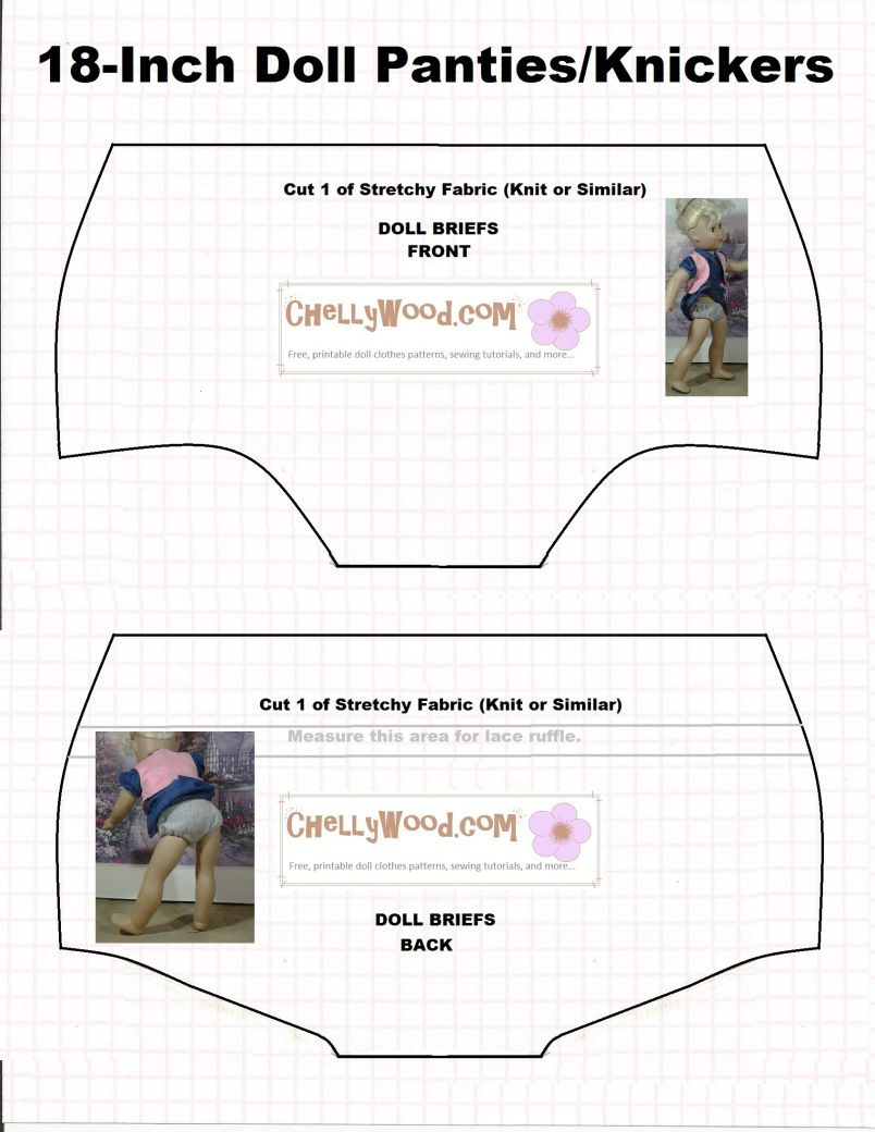 Doll Underwear Pattern (Briefs) To Fit 18 Inch Dolls Like American - Free Printable Patterns For Sewing Doll Clothes