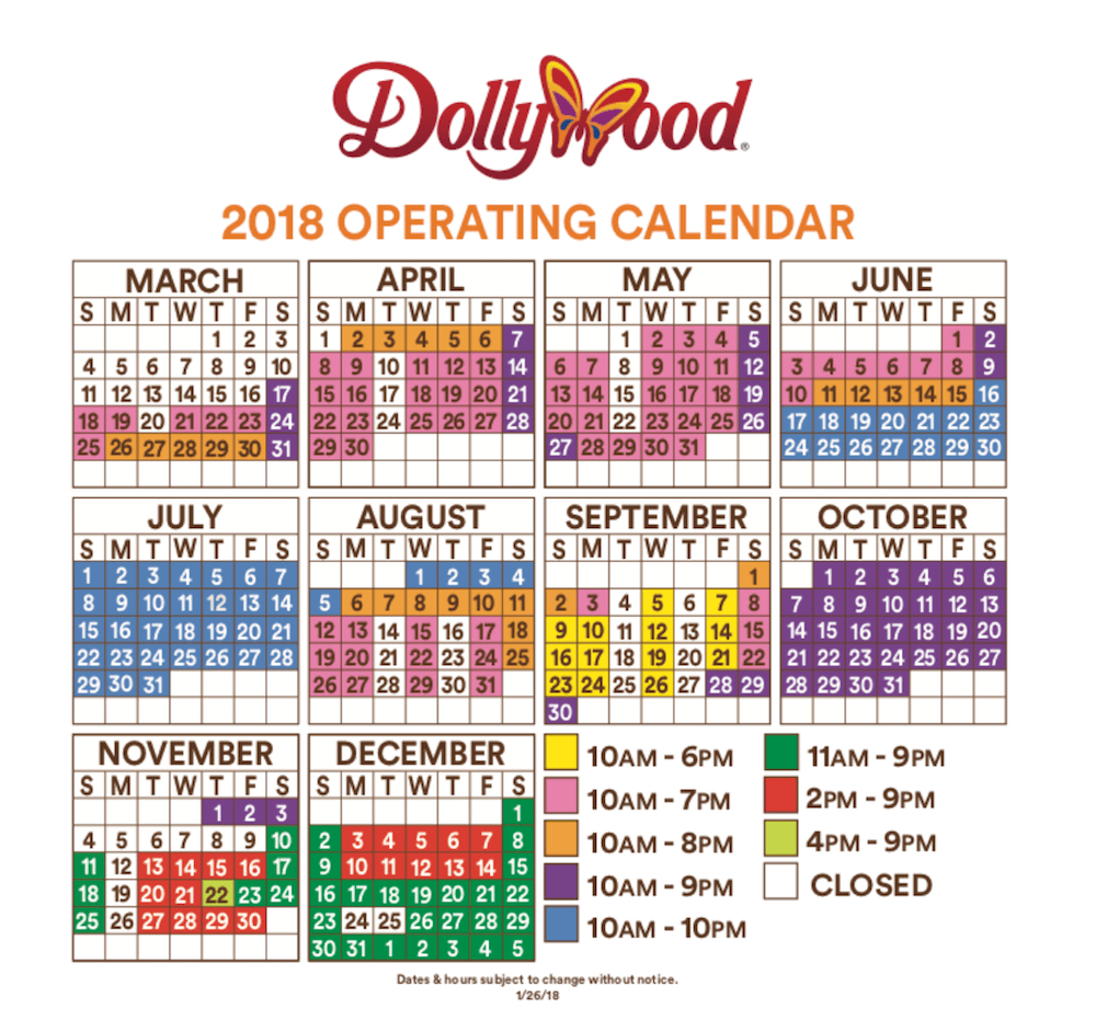 Dollywood Schedule And Dollywood Hours For 2018 Season - Free Printable Dollywood Coupons