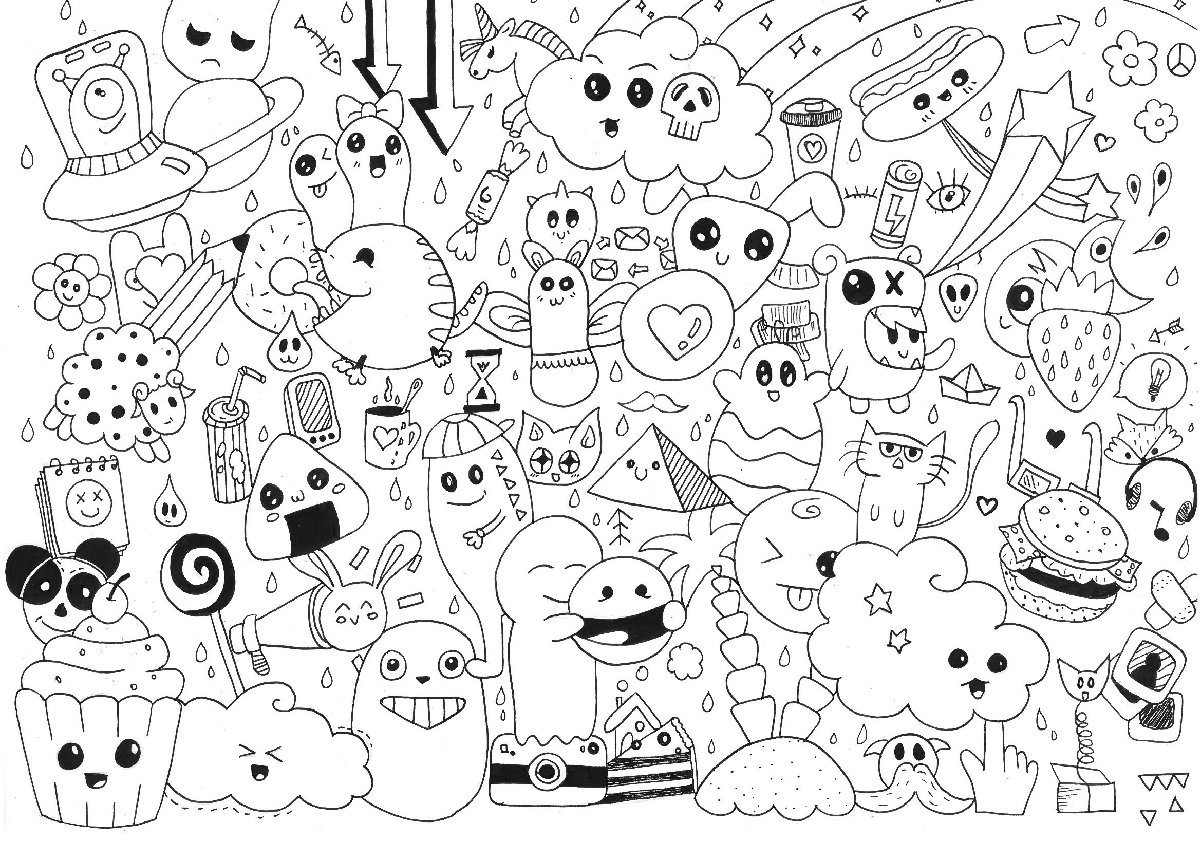 Doodle Art To Print For Free - Doodle Art Kids Coloring Pages - Free Printable Doodle Art Coloring Pages