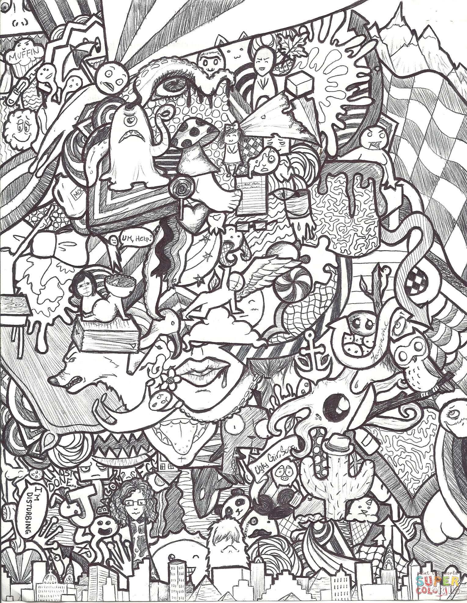 Doodle Collagejazzy Coloring Page | Free Printable Coloring Pages - Free Printable Doodle Patterns