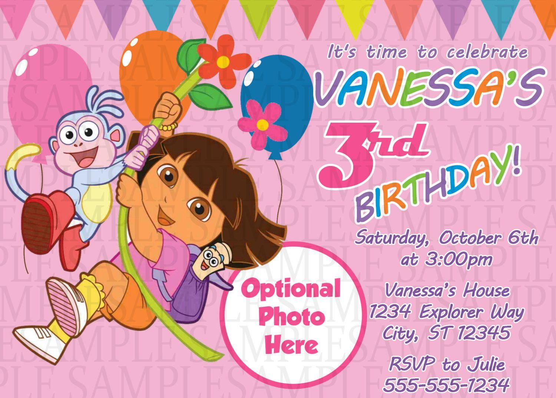 Dora The Explorer Birthday Invitation $11 | Kids Birthday - Dora The Explorer Free Printable Invitations
