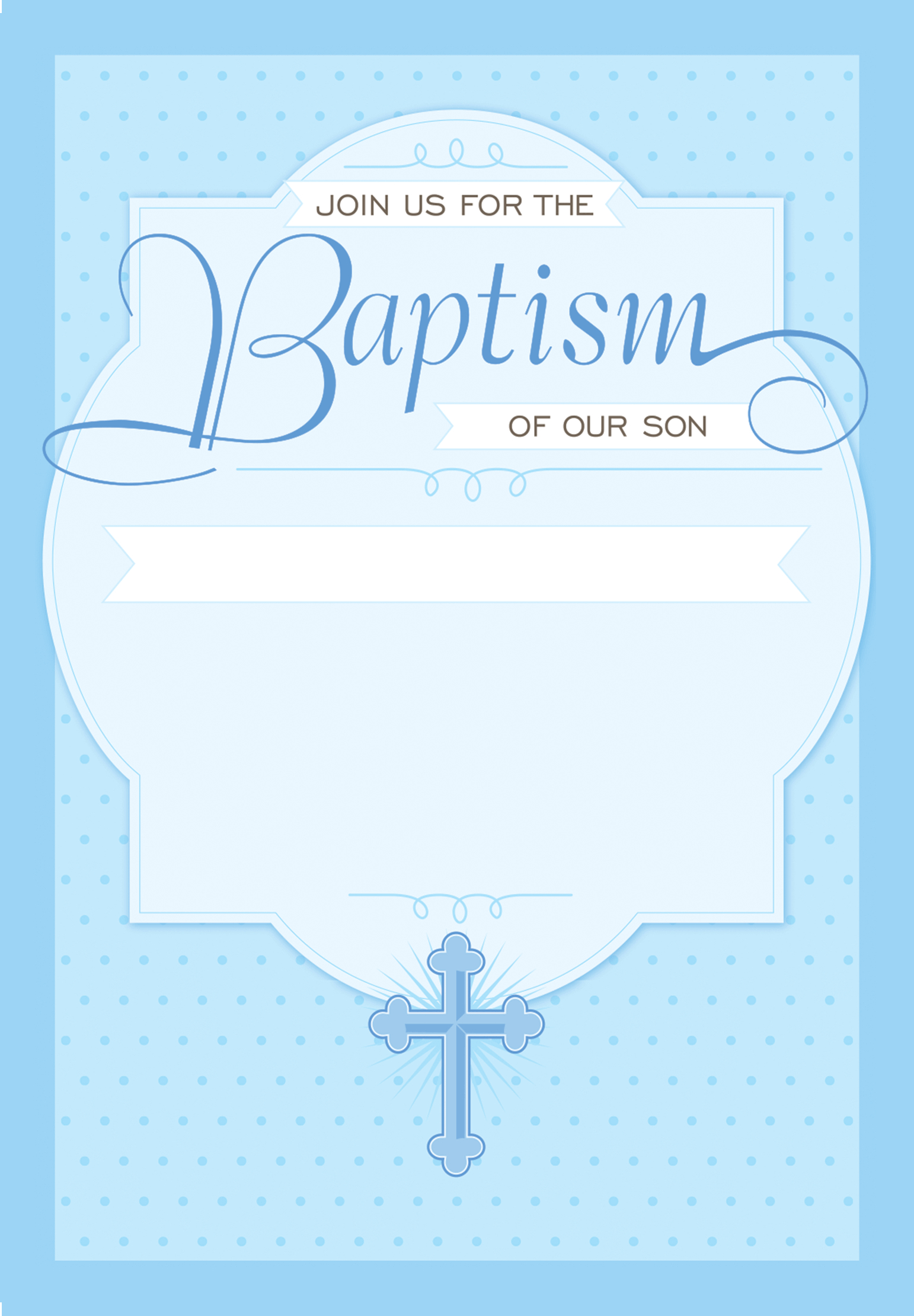 Dotted Blue - Free Printable Baptism & Christening Invitation - Free Printable Baptism Greeting Cards