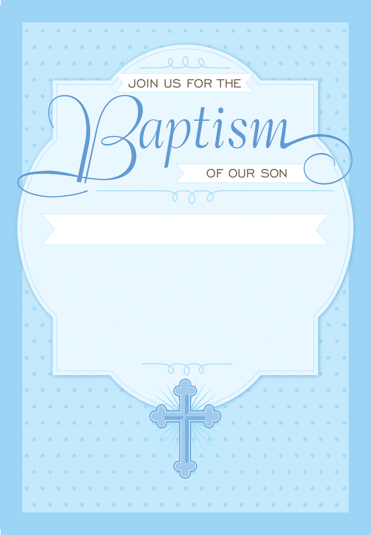 Dotted Blue - Free Printable Baptism & Christening Invitation - Free Printable Baptism Invitations