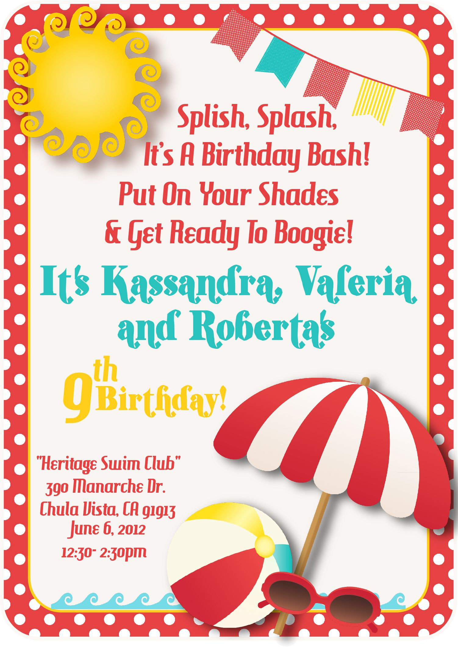 Download A Free Printable Party Invitation Template With A Clipart - Free Printable Water Park Birthday Invitations
