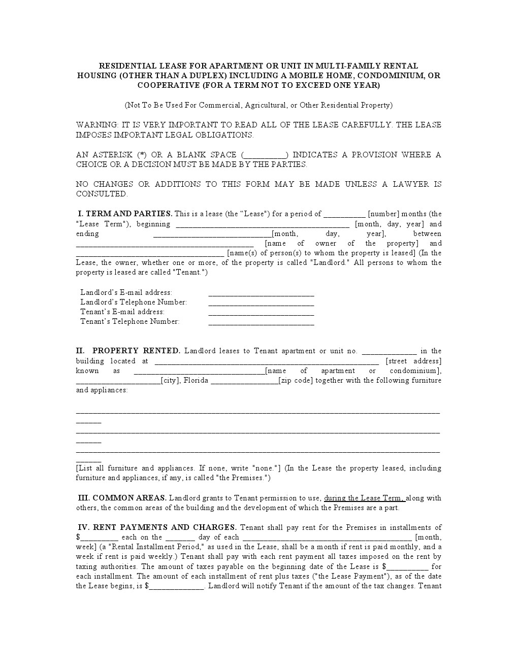 Download Free Florida Residential Lease Agreement - Printable Lease - Free Printable Florida Residential Lease Agreement