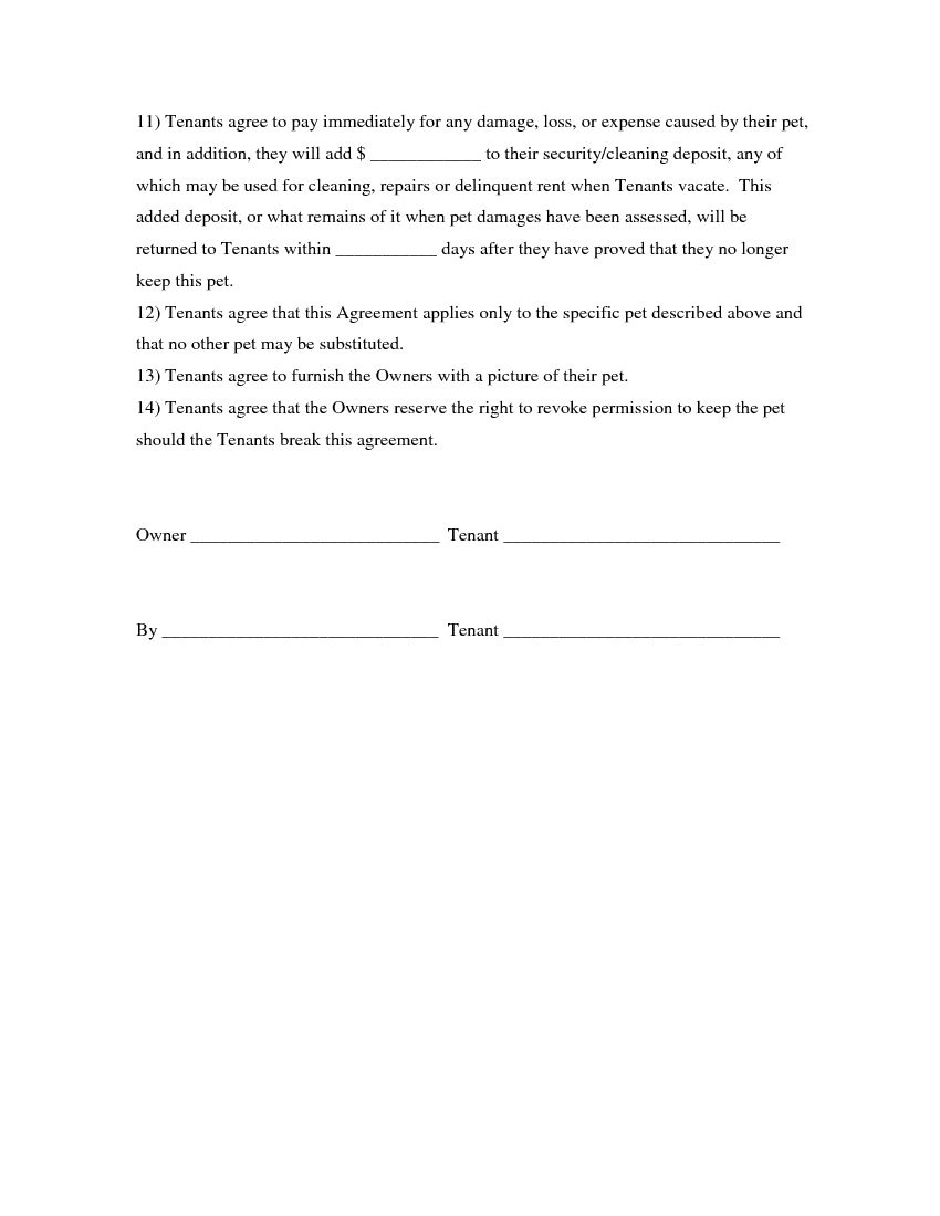 Download Free Pet Agreement Addendum To Rental Agreement - Printable - Free Printable Pet Addendum