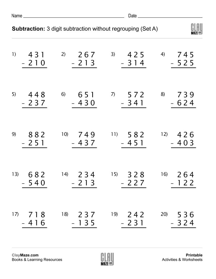 Download Our Free Printable 3 Digit Subtraction Worksheet With No - Free Printable 5 W's Worksheets
