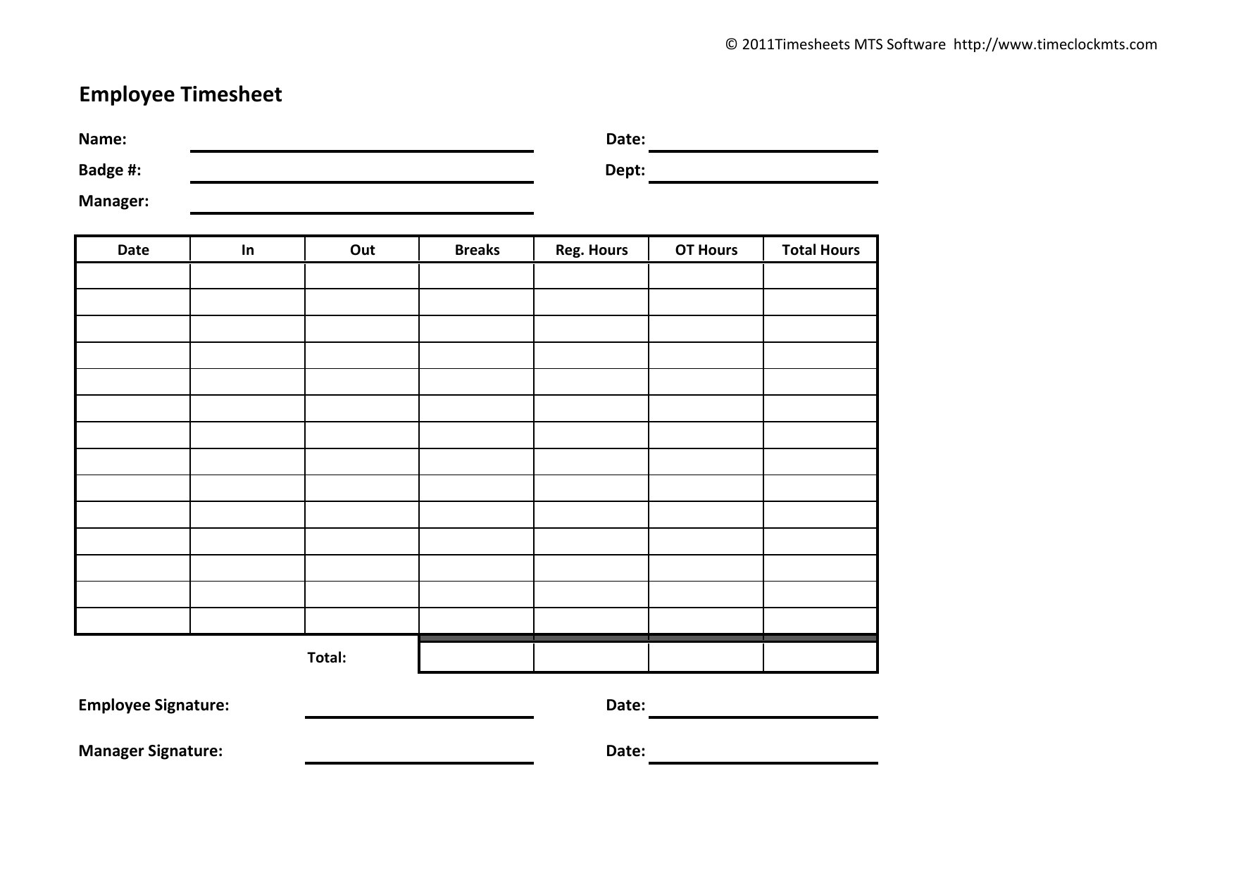 Download Weekly Timesheet Template | Excel | Pdf | Rtf | Word - Free Printable Weekly Time Sheets