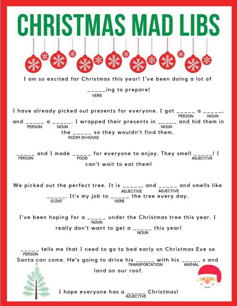 Download Your Free Printable Christmas Mad Libs! Kids And Adults Of - Christmas Mad Libs Printable Free