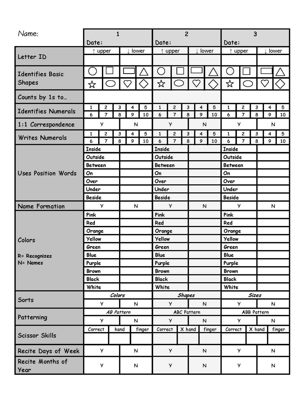 Downloaded--Assessment-Great For Power Standardsinteresting Idea - Free Printable Pre K Assessment Forms