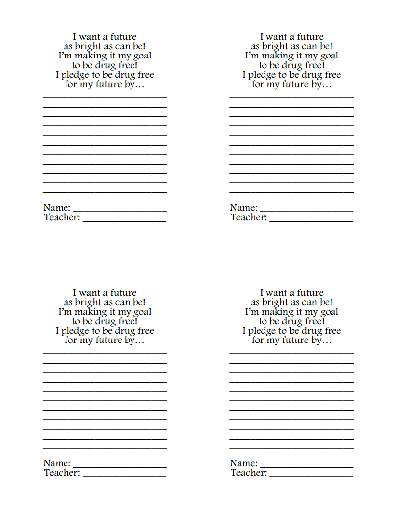 Drug Free Pledge.pdf   Red Ribbon Week - Free Printable Drug Free Pledge Cards