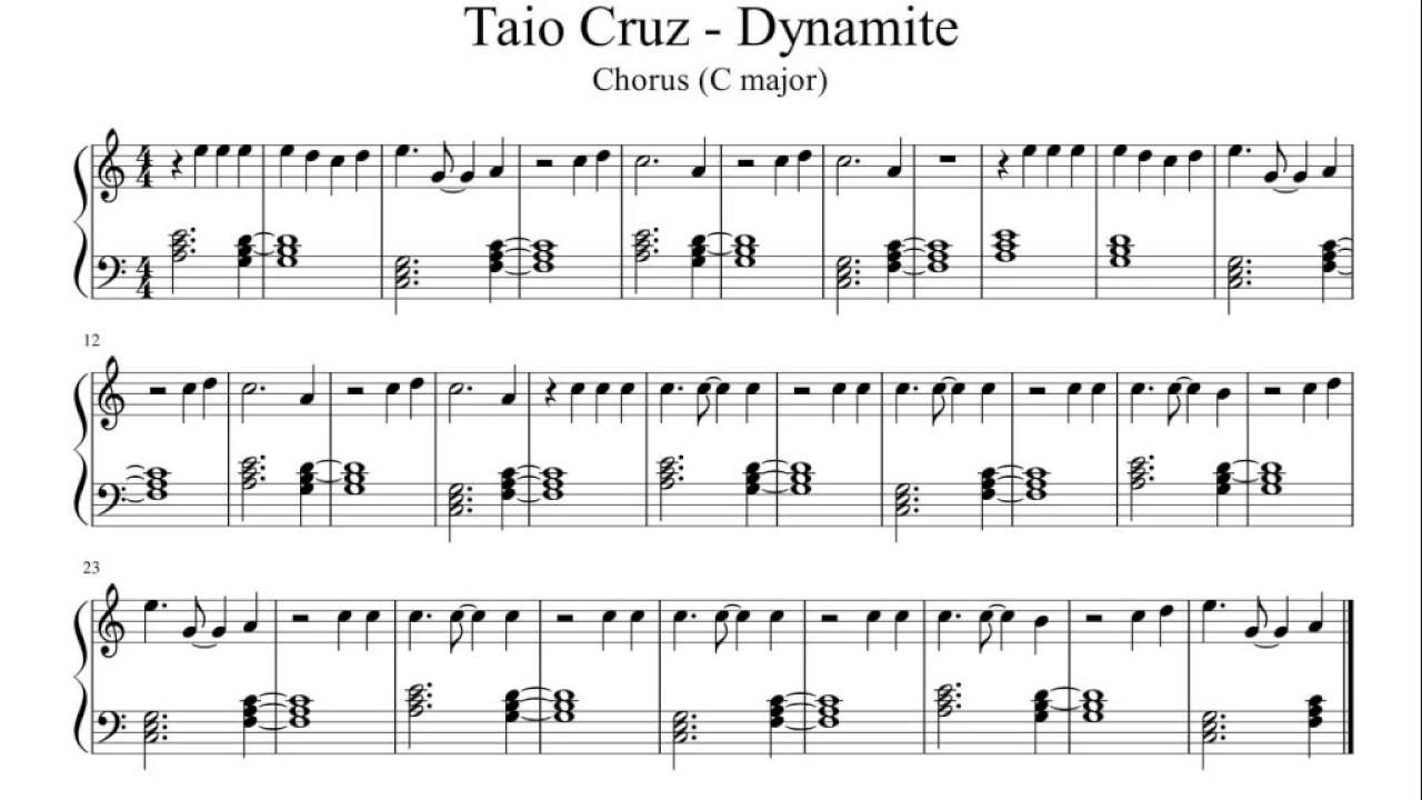 Dynamite - Taio Cruz (Chorus) - Easy Piano Sheet Music | Resin Art - Dynamite Piano Sheet Music Free Printable