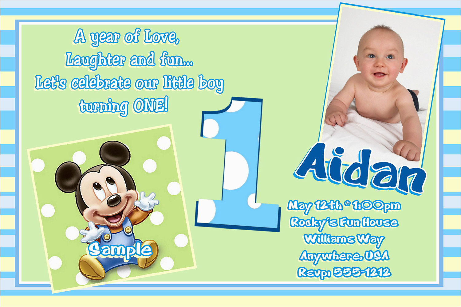 E Invitation For Baby Birthday | Birthdaybuzz - Free Printable Mickey Mouse 1St Birthday Invitations