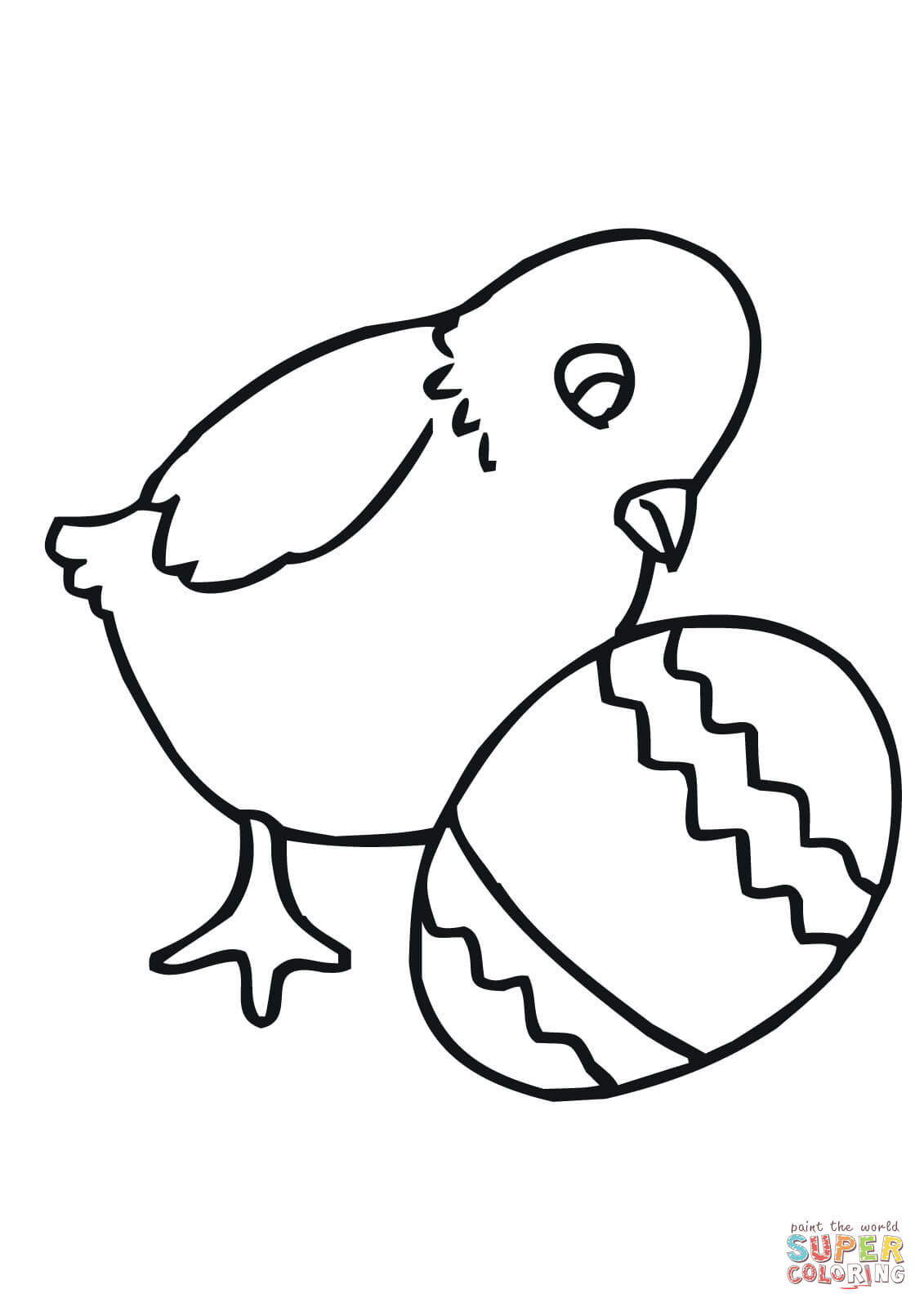 Easter Chick With Egg Coloring Page | Free Printable Coloring Pages - Free Printable Easter Baby Chick Coloring Pages
