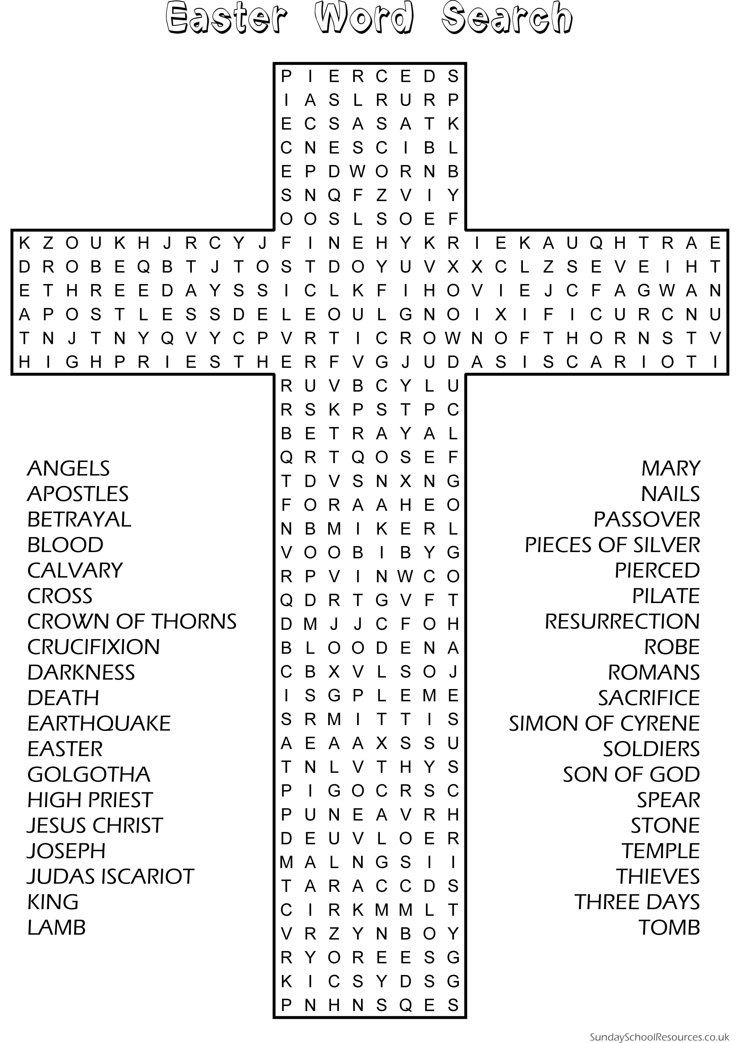 Easter Word Search - Sunday School Activity Website Has Good - Free Printable Religious Easter Word Searches