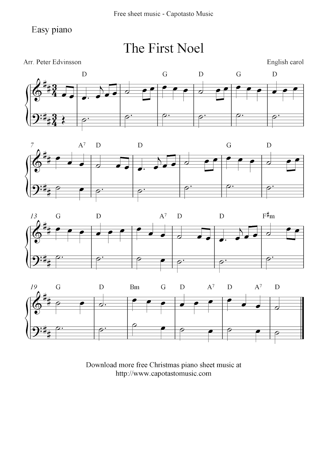 Easy Free Christmas Sheet Music For Piano, The First Noel - Free Printable Christmas Music Sheets Piano